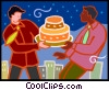 Vector Clip Art picture  of a businessmen with a cake