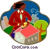 Vector Clip Art picture  of a woman investing her money