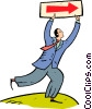 businessman running with a sign Vector Clipart image