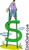 Vector Clipart graphic  of a walking on stilts made of dollar signs