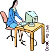 Vector Clip Art image  of a woman working at her computer
