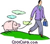Vector Clip Art image  of a man walking a piggy bank