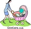 Vector Clip Art graphic  of a computer in a baby carriage