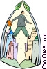 businessman walking on top of the city Vector Clipart picture