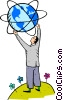 Vector Clip Art image  of a man with the world in his