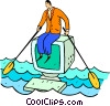 man rowing a computer Vector Clip Art graphic