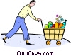 Vector Clip Art image  of a man with shopping cart of