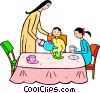 Vector Clipart illustration  of a family being served tea
