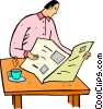 man reading the newspaper Vector Clip Art picture