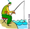 Vector Clip Art image  of a fisherman