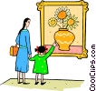 mother and daughter at the art museum Vector Clipart illustration