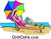 Vector Clipart graphic  of a Woman getting a tan on the