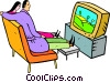Vector Clip Art picture  of a couple watching television