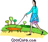 Vector Clipart graphic  of a woman walking the dog