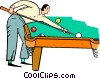 Vector Clipart image  of a Man playing pool