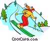 Vector Clip Art graphic  of a downhill skier