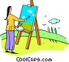 Vector Clip Art image  of a woman painting a picture