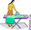 Vector Clip Art image  of a woman ironing clothes