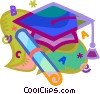 Vector Clip Art graphic  of a graduation cap and diploma