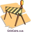 Vector Clip Art image  of a road barricade