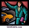 man hailing a cab Vector Clipart picture