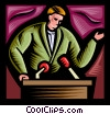 Vector Clipart graphic  of a man speaking at a podium