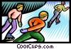 Vector Clipart picture  of a speed skaters