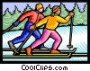 Vector Clipart graphic  of a Cross country skiers