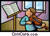 Vector Clip Art image  of a violin lessons
