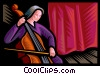 Vector Clipart graphic  of a concert cellists