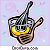 Vector Clip Art image  of a mixing bowl and whisk