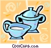 Vector Clipart graphic  of a milk and sugar cups