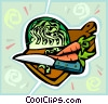 vegetables on a cutting board Vector Clip Art image