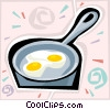 Vector Clip Art picture  of a eggs in a frying pan