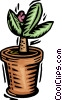 Vector Clip Art graphic  of a potted flower