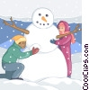 children building snowman Vector Clipart image