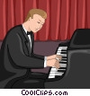 Vector Clip Art graphic  of a concert pianist
