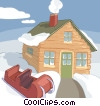 Vector Clip Art graphic  of a house in a winter setting