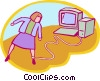 Vector Clipart illustration  of a woman chained to her work