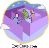 people in a maze looking for money Vector Clip Art graphic
