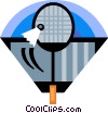 Badminton racket and birdie Vector Clip Art picture
