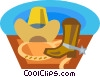 cowboy hat and boots Vector Clip Art graphic
