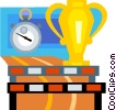 stop watch and a trophy Vector Clipart illustration