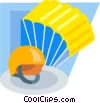 parachute and helmet Vector Clip Art picture