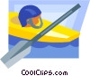 kayak, paddles, and helmets Vector Clipart image