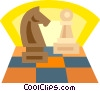 chess pieces, knight, pawn Vector Clipart graphic