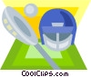 Vector Clipart picture  of a lacrosse helmet and stick
