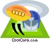 football helmet and ball Vector Clipart graphic
