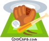 Vector Clipart picture  of a baseball bat and glove