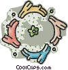 Vector Clip Art image  of a dogs running in a circle